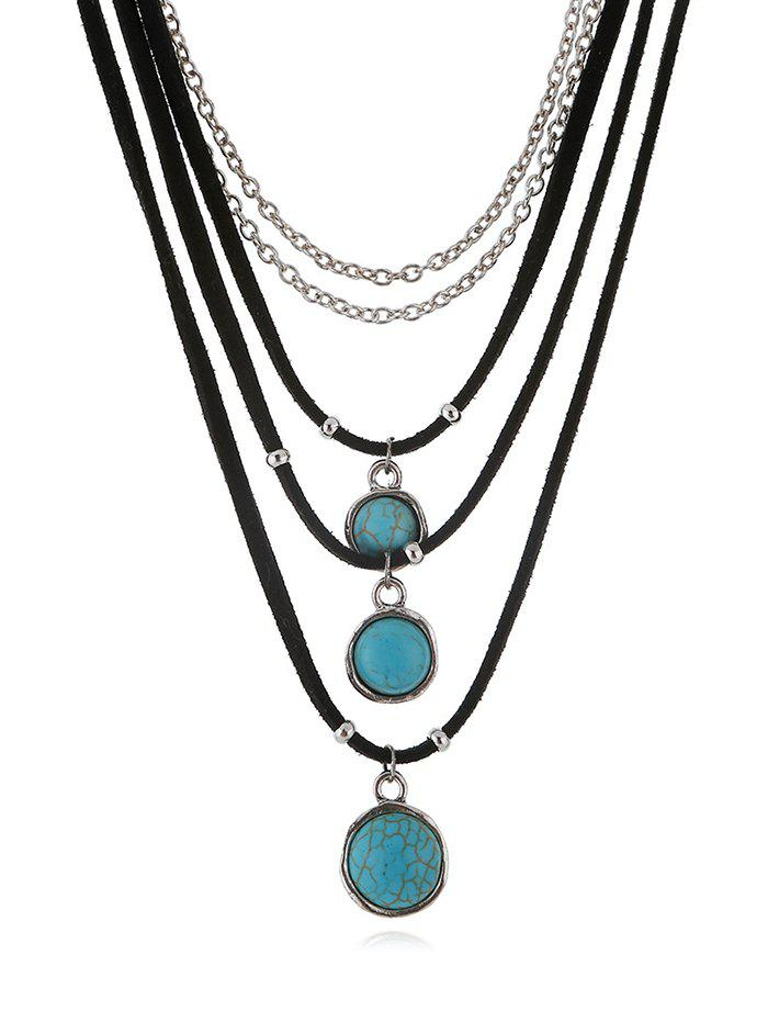 Faux Turquoise Layered Pendant Choker Necklace, Black