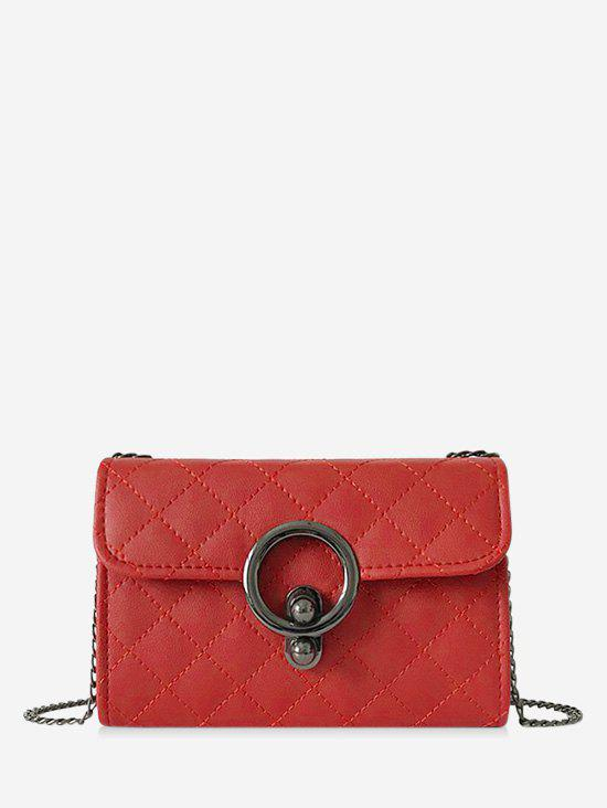 Fashion Circle Hasp Chain Quilted Crossbody Bag