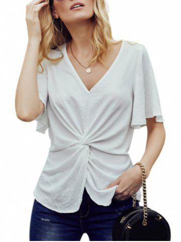 Twisted Front Chiffon Flutter Sleeve Blouse - WHITE - XL