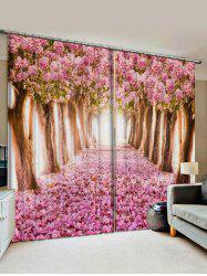 2 Panels Flower Forest Print Window Curtains -