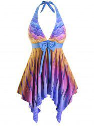 Bowknot Halter Mermaid Scales Ombre Stripes Plus Size Tankini Swimsuit -