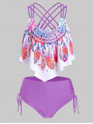 Feather Print Strappy Pointed Hem Tankini Swimwear -