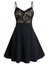 Plus Size Lace Insert Fit and Flare Dress -