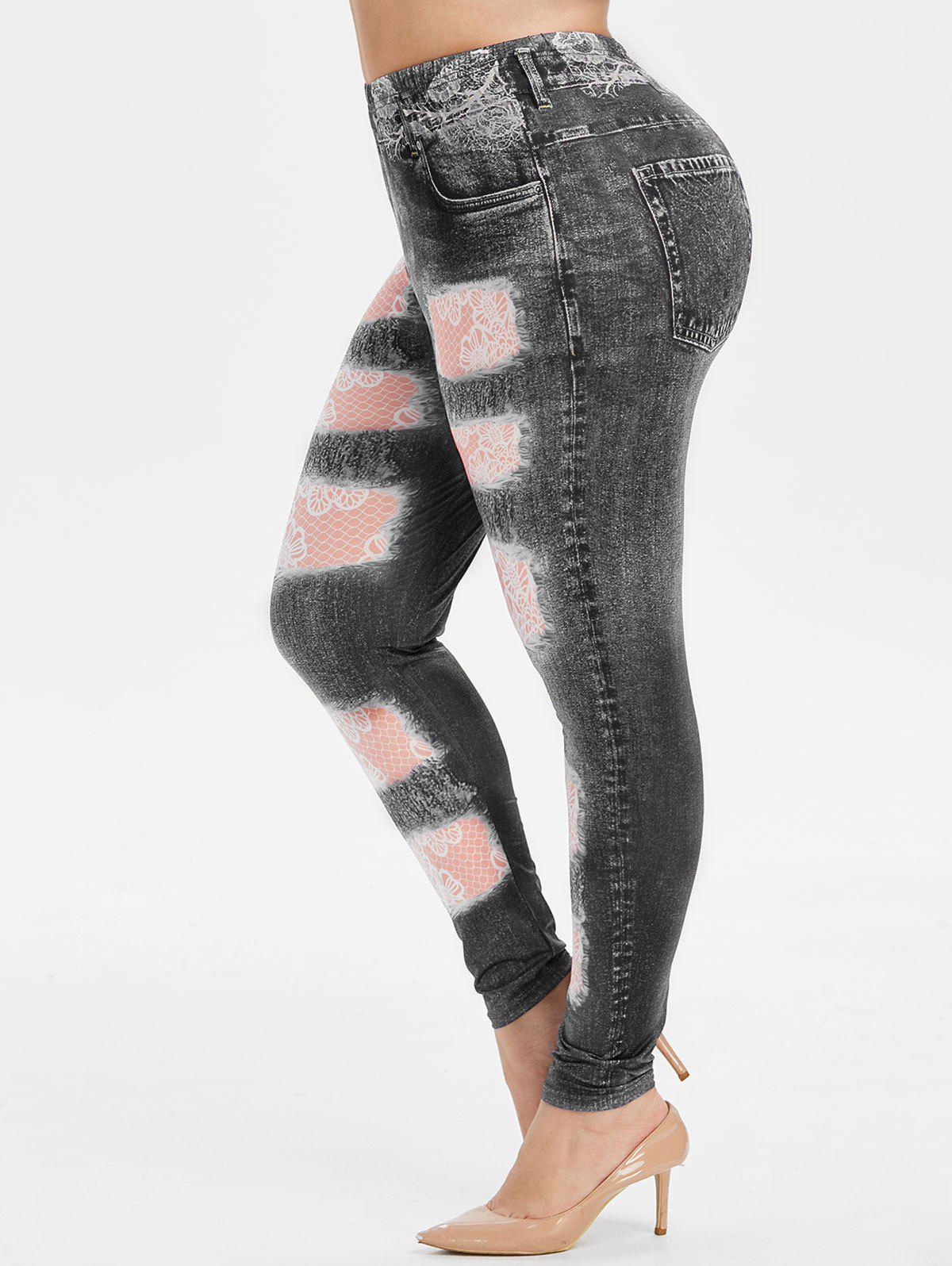 Fashion Plus Size High Rise Destroyed 3D Print Jeggings