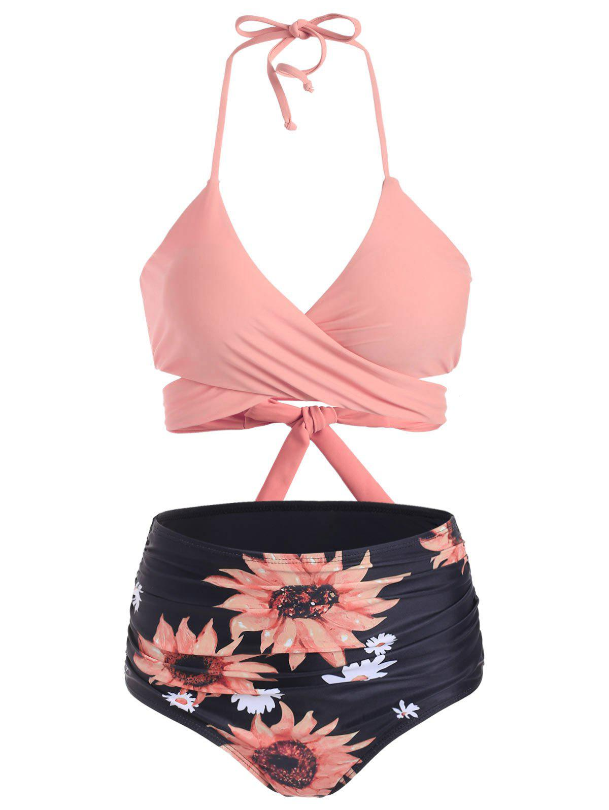 Outfits Sunflower High Waisted Ruched Wrap Bikini Swimwear