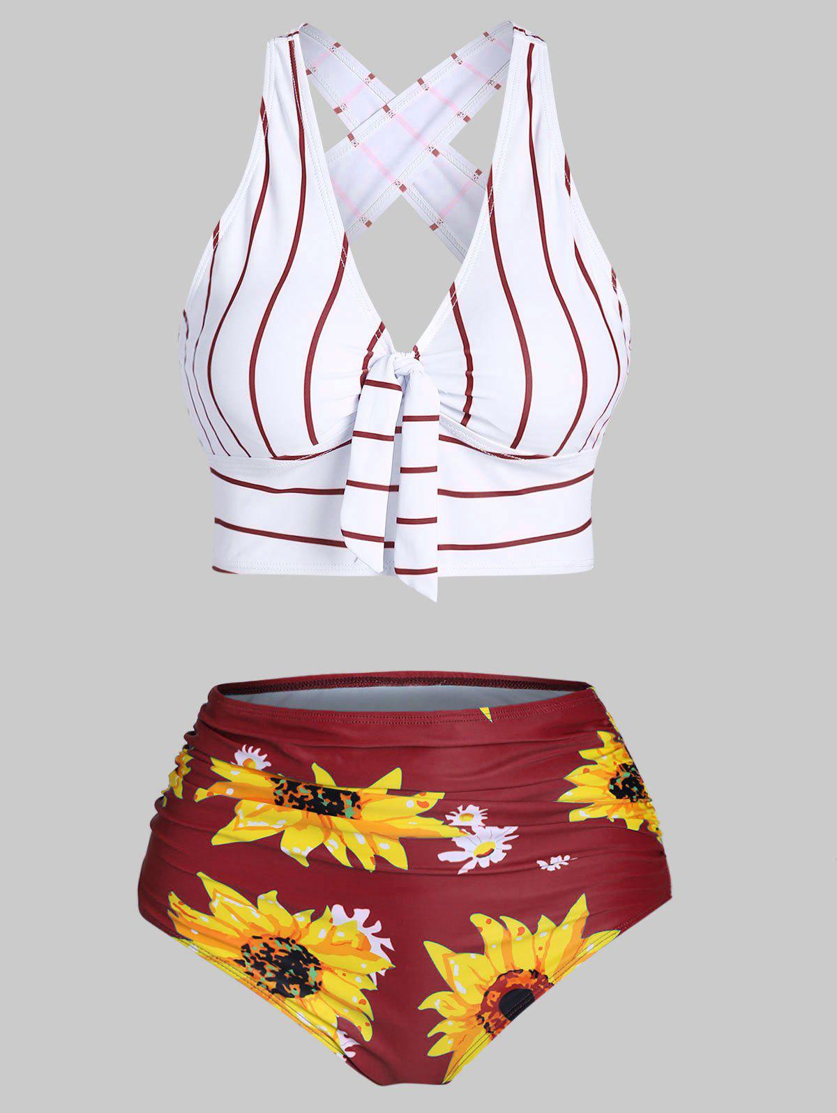 Latest Striped Sunflower Criss Cross Tummy Control Bikini Swimwear