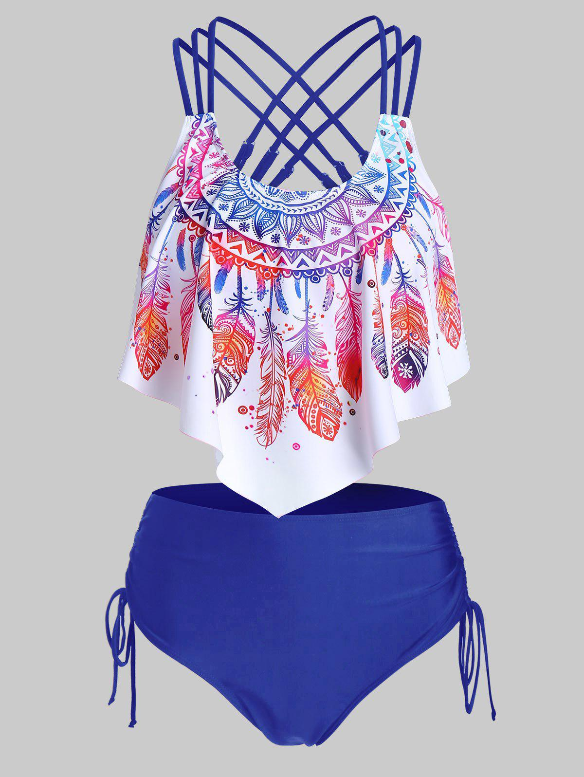 Fashion Feather Print Strappy Pointed Hem Tankini Swimwear