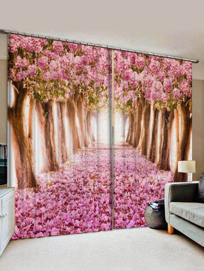 Chic 2 Panels Flower Forest Print Window Curtains