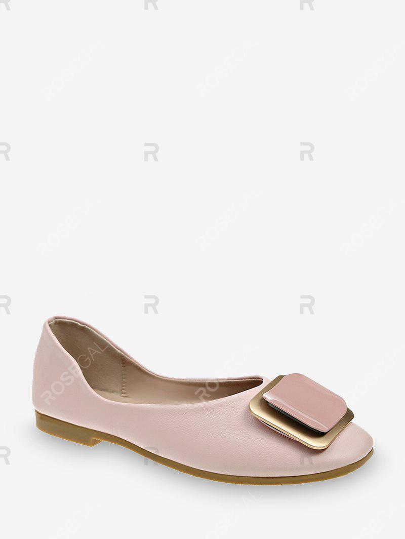 Buy Square Buckle Leather Loafer Flats