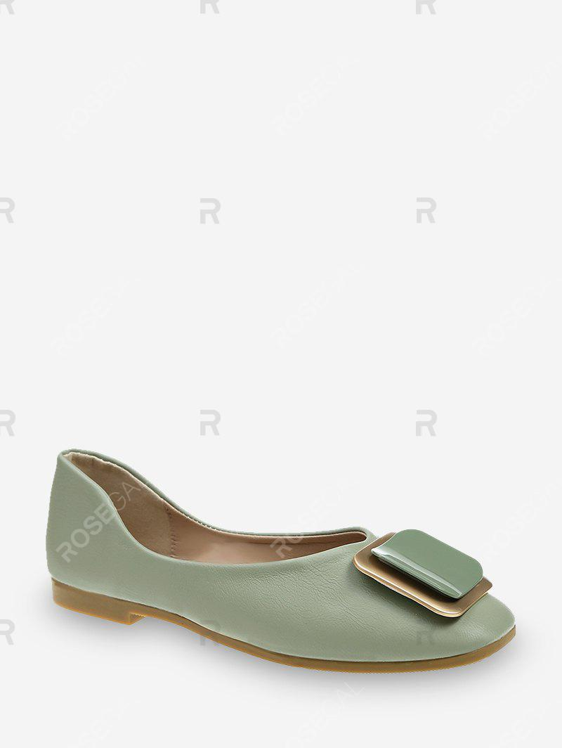 Online Square Buckle Leather Loafer Flats