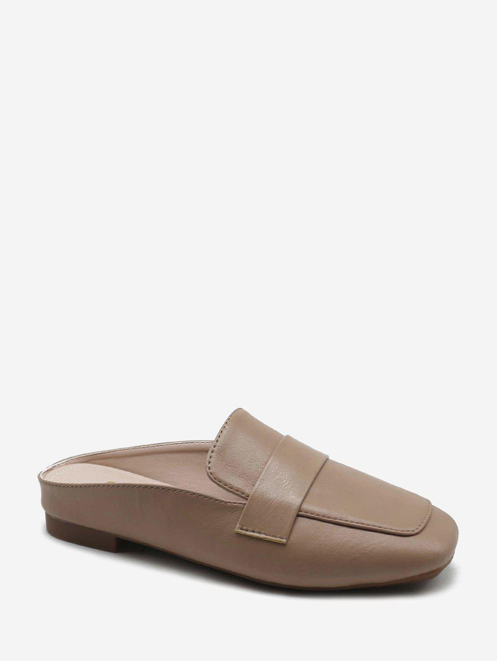 Buy Plain Square Toe Leather Loafer Shoes