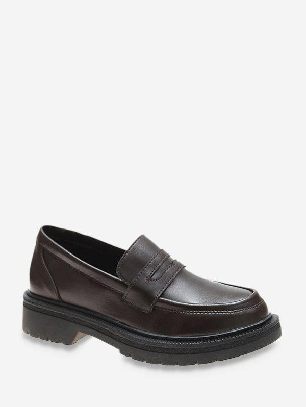 Trendy Plain Low Heel Leather Loafer Shoes