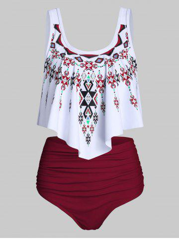 Ethnic Geometric Print Ruched Asymmetrical Tankini Swimsuit - RED WINE - S