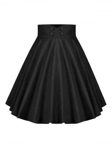 Buttoned A Line Pleated Skirt