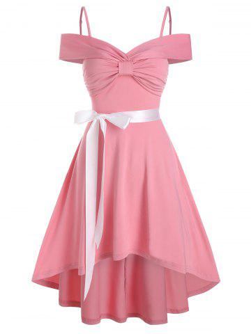 Bow Ruched Vintage High Low Belted Dress