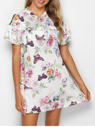 Hooded Ruffled Floral Print Mini Dress -