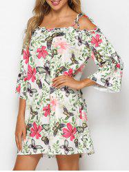 Tie Shoulder Butterfly Floral Print Mini Dress -