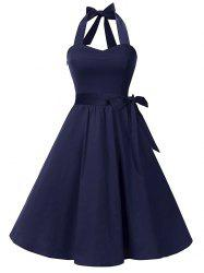 Halter Lace Up Belted A Line Retro Dress -
