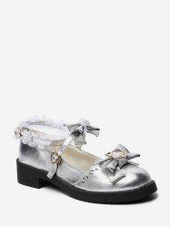 Bowknot Leather Low Heel Lolita Shoes -