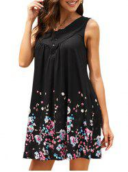 Ditsy Floral Half Buttoned Sleeveless Tunic Dress -