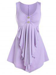Mock Button Ruffle Front Skirted Tank Top -