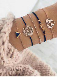 Map Heart Crescent Geometric Shape Bracelets Set -