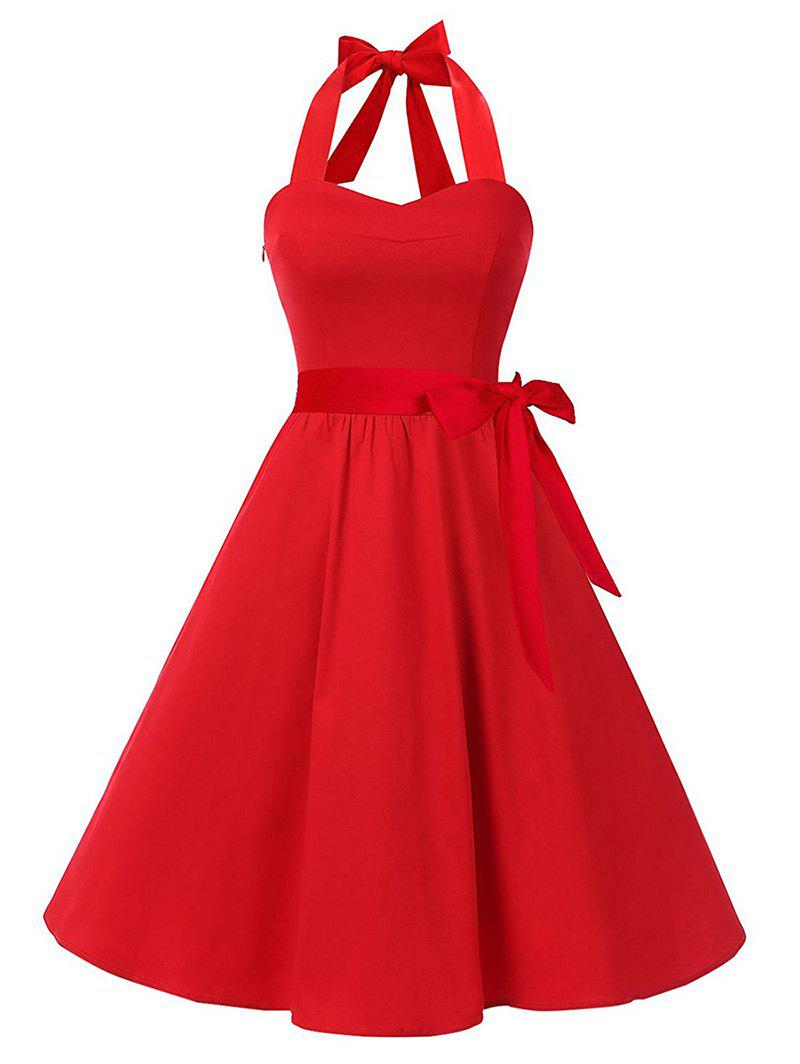 Fashion Halter Lace Up Belted A Line Retro Dress