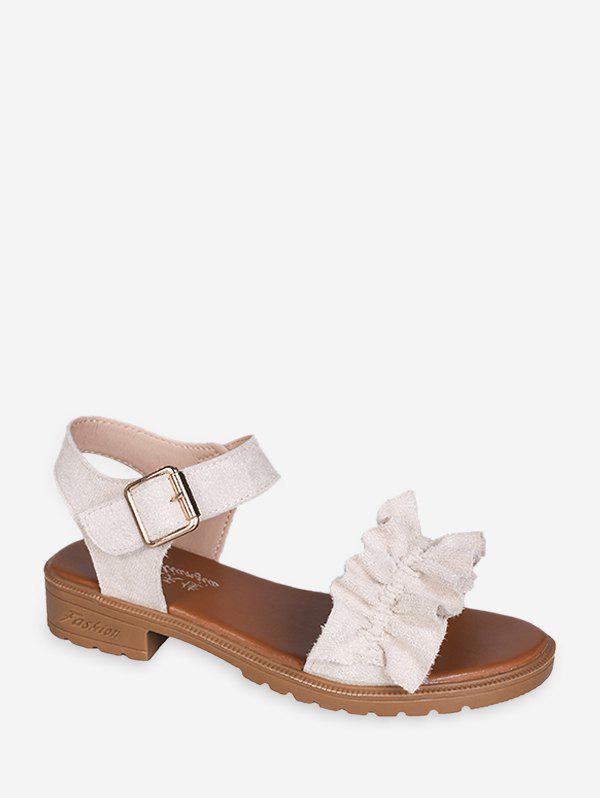 Latest Ruffled Low Heel Ankle Strap Sandals