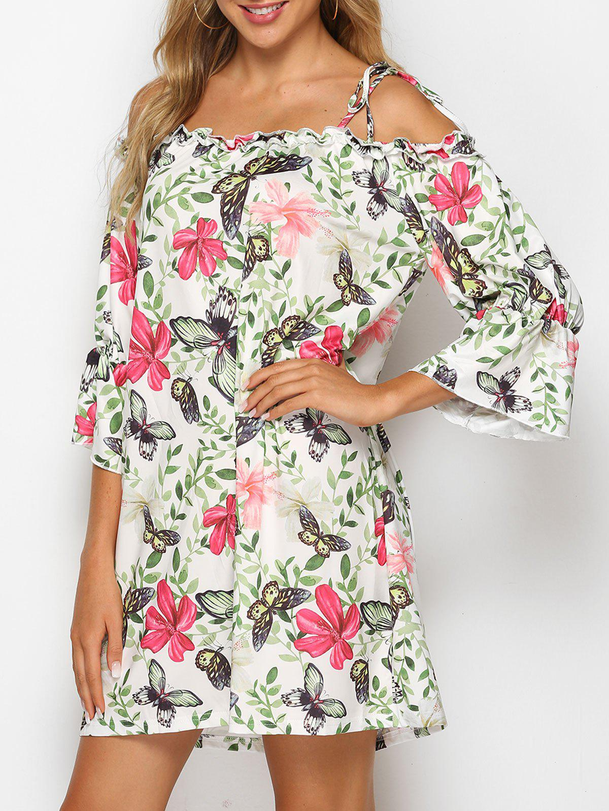 Shop Tie Shoulder Butterfly Floral Print Mini Dress