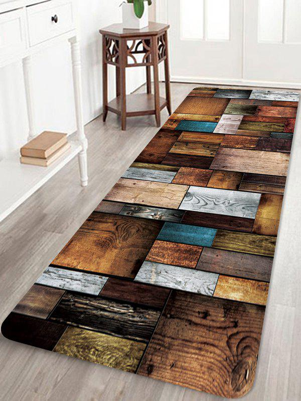 Unique Colorful Wooden Board Pattern Water Absorption Floor Area Rug