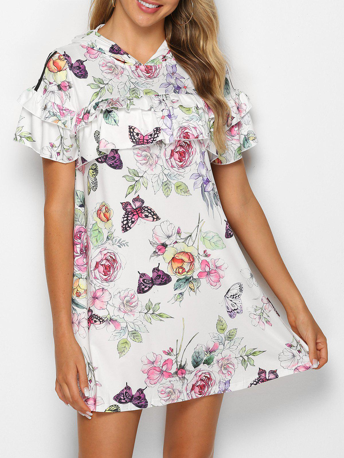 Affordable Hooded Ruffled Floral Print Mini Dress