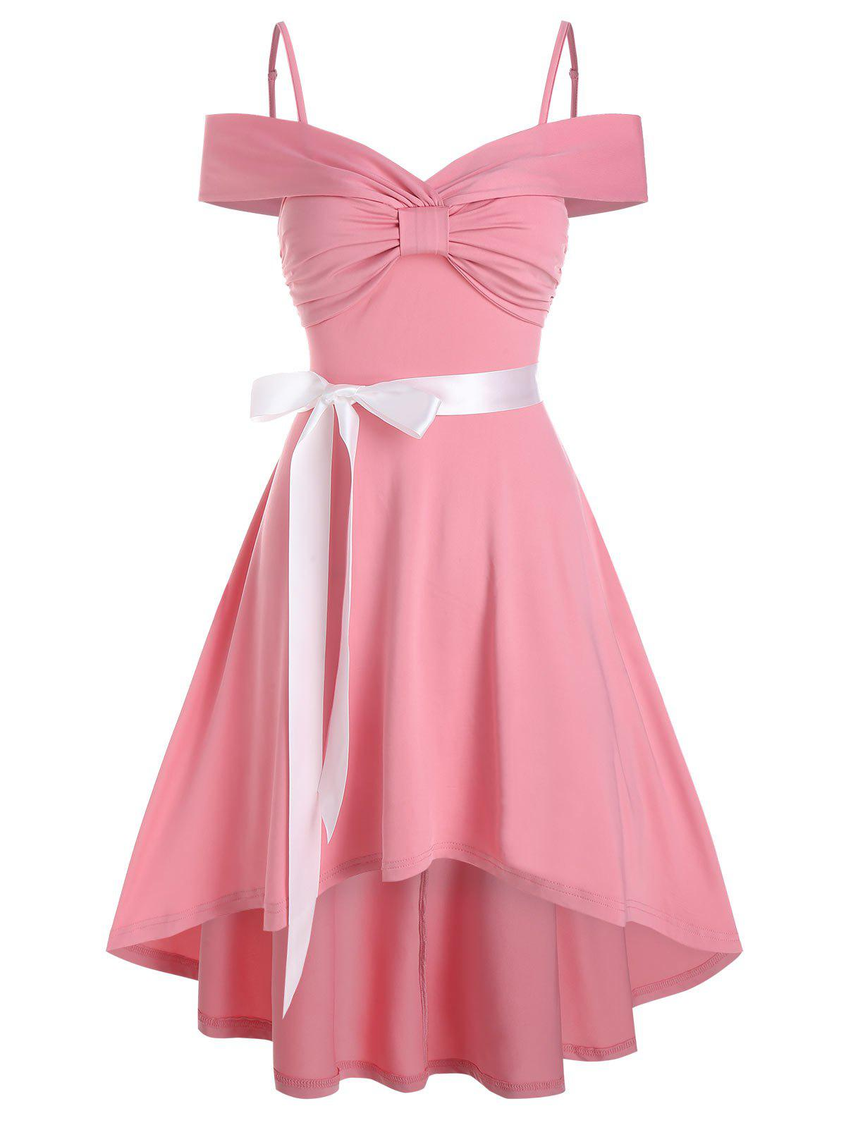 Online Bow Ruched Vintage High Low Belted Dress