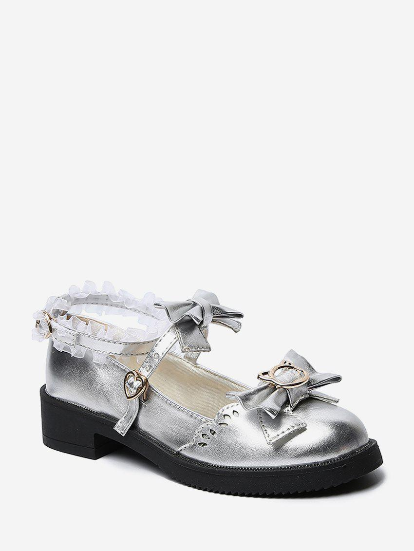 Unique Bowknot Leather Low Heel Lolita Shoes