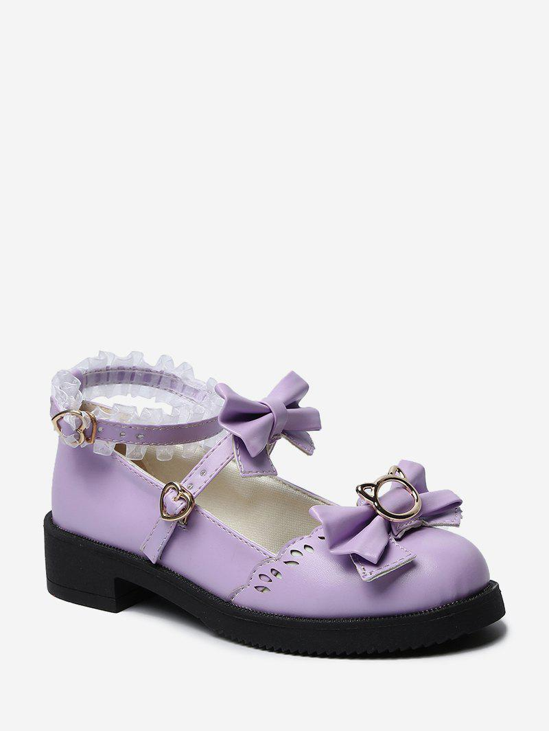 Shops Bowknot Leather Low Heel Lolita Shoes