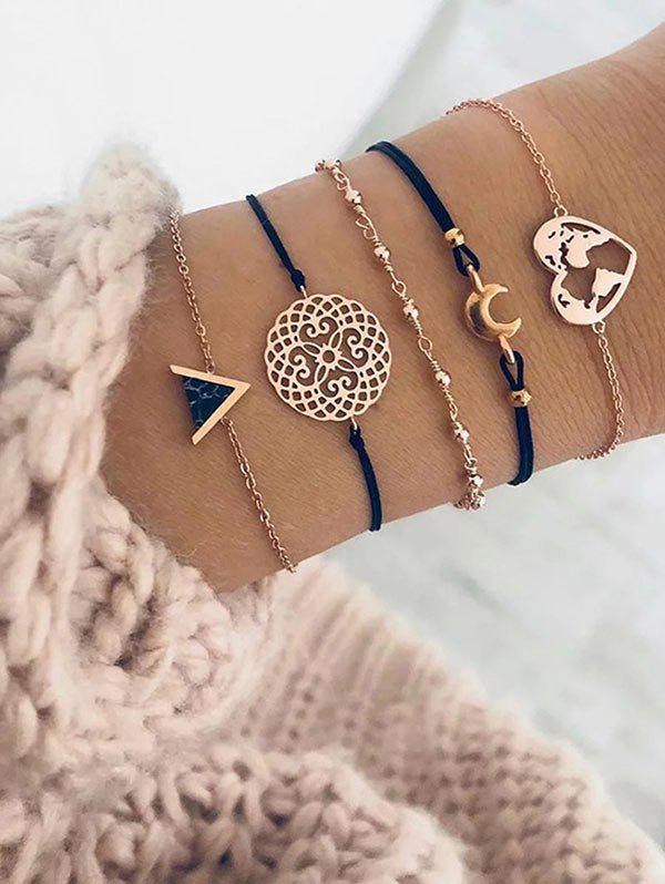 Affordable Map Heart Crescent Geometric Shape Bracelets Set