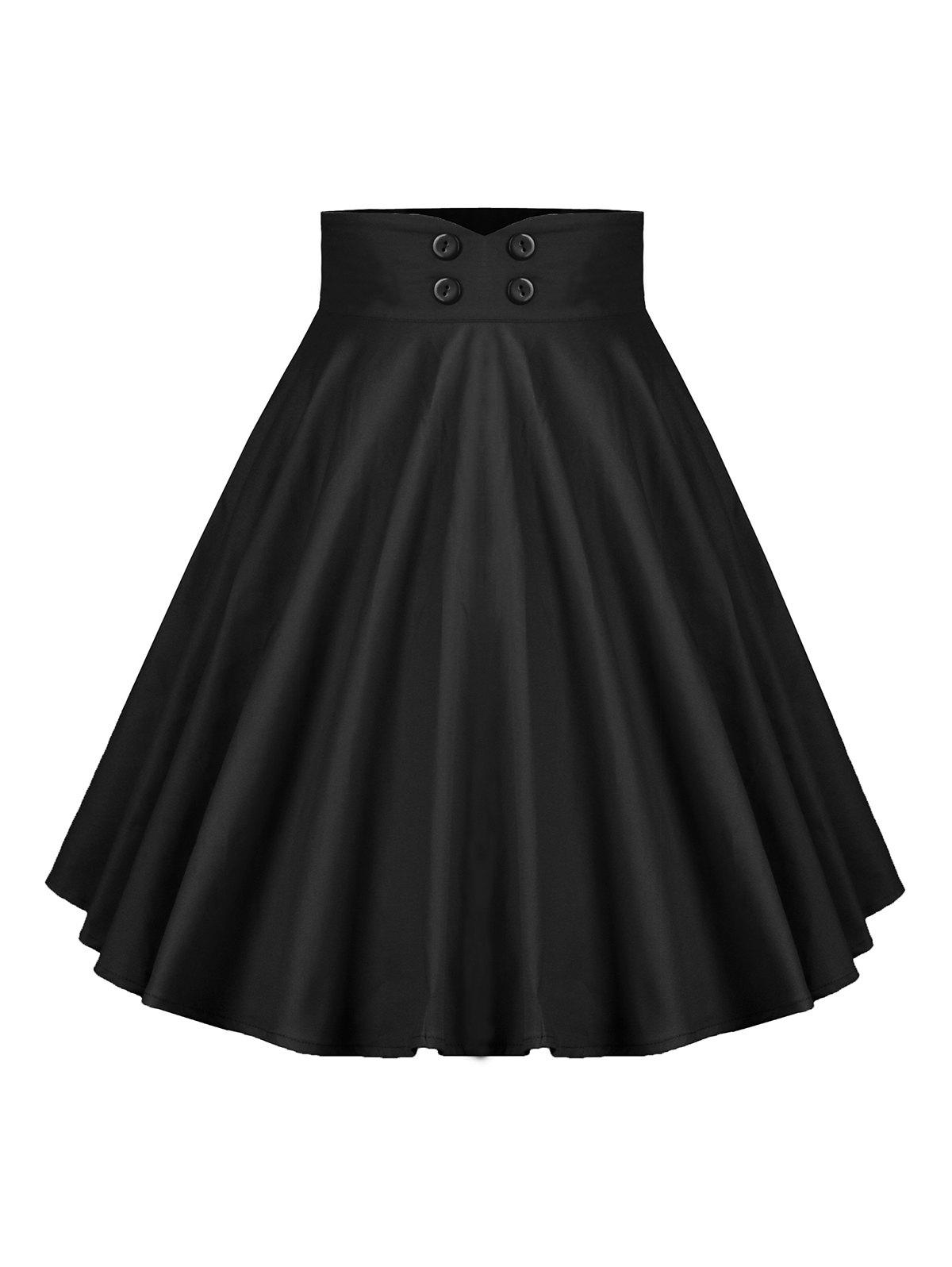 New Buttoned A Line Pleated Skirt