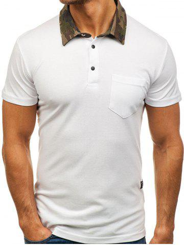 Camouflage Spliced Collar Short Sleeves T-shirt