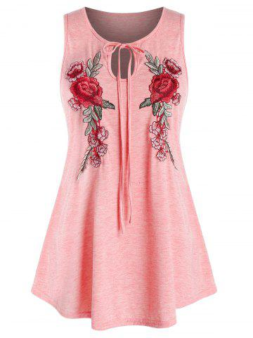 Plus Size Embroidered Keyhole Tank Top - LIGHT PINK - 3X