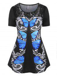 Plus Size Butterfly Print Lace Panel T Shirt -