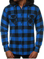 Plaid Pattern Detachable Hooded Long Sleeve Shirt -