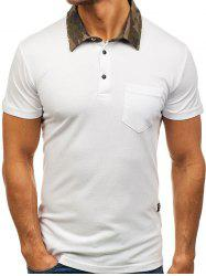 Camouflage Spliced Collar Short Sleeves T-shirt -