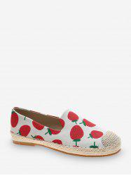 Fruit Print Cloth Loafer Flat Shoes -