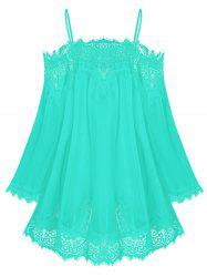 Lace Insert Open Shoulder See Through Chiffon Cover Up -