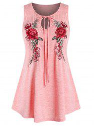 Plus Size Embroidered Keyhole Tank Top -