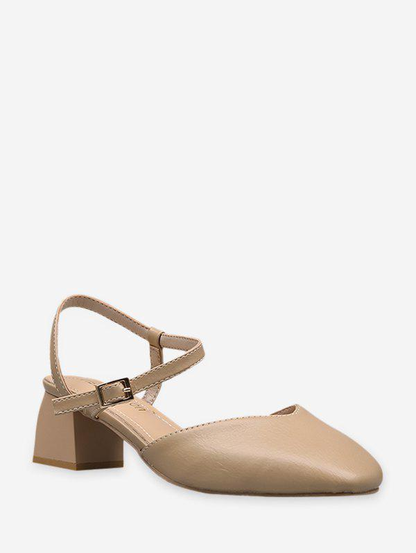 Cheap Simple Square Toe Leather Slingback Pumps