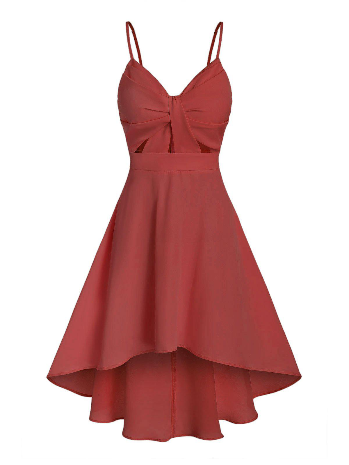 Chic Plain Front Knot High Low Dress