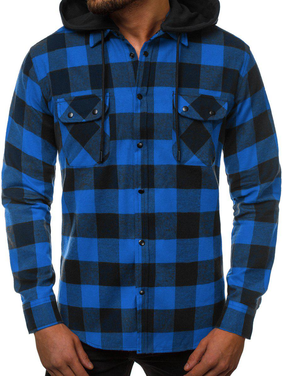 Shop Plaid Pattern Detachable Hooded Long Sleeve Shirt