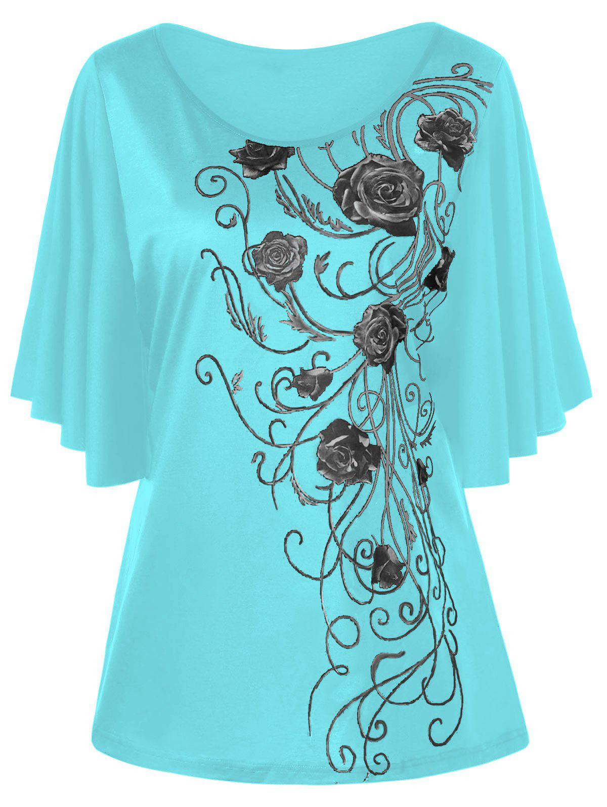 Trendy Plus Size Floral Drape Sleeve T-shirt