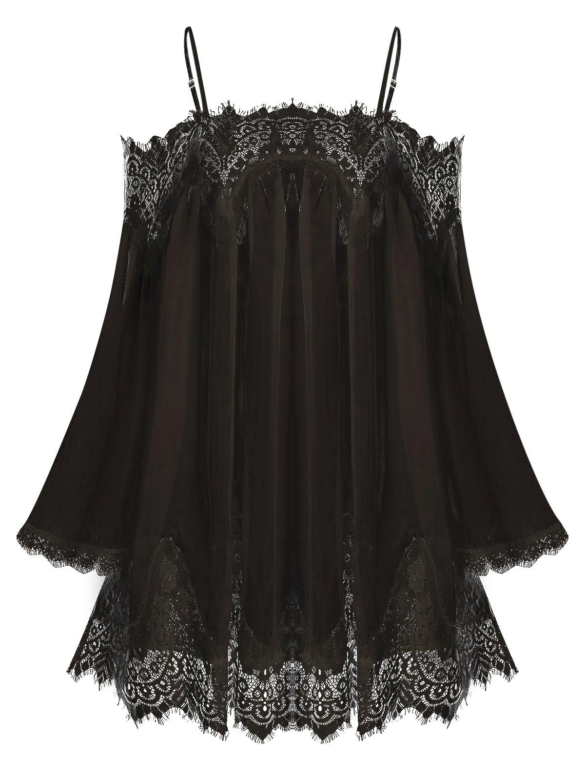 Lace Insert Open Shoulder See Through Chiffon Cover Up фото