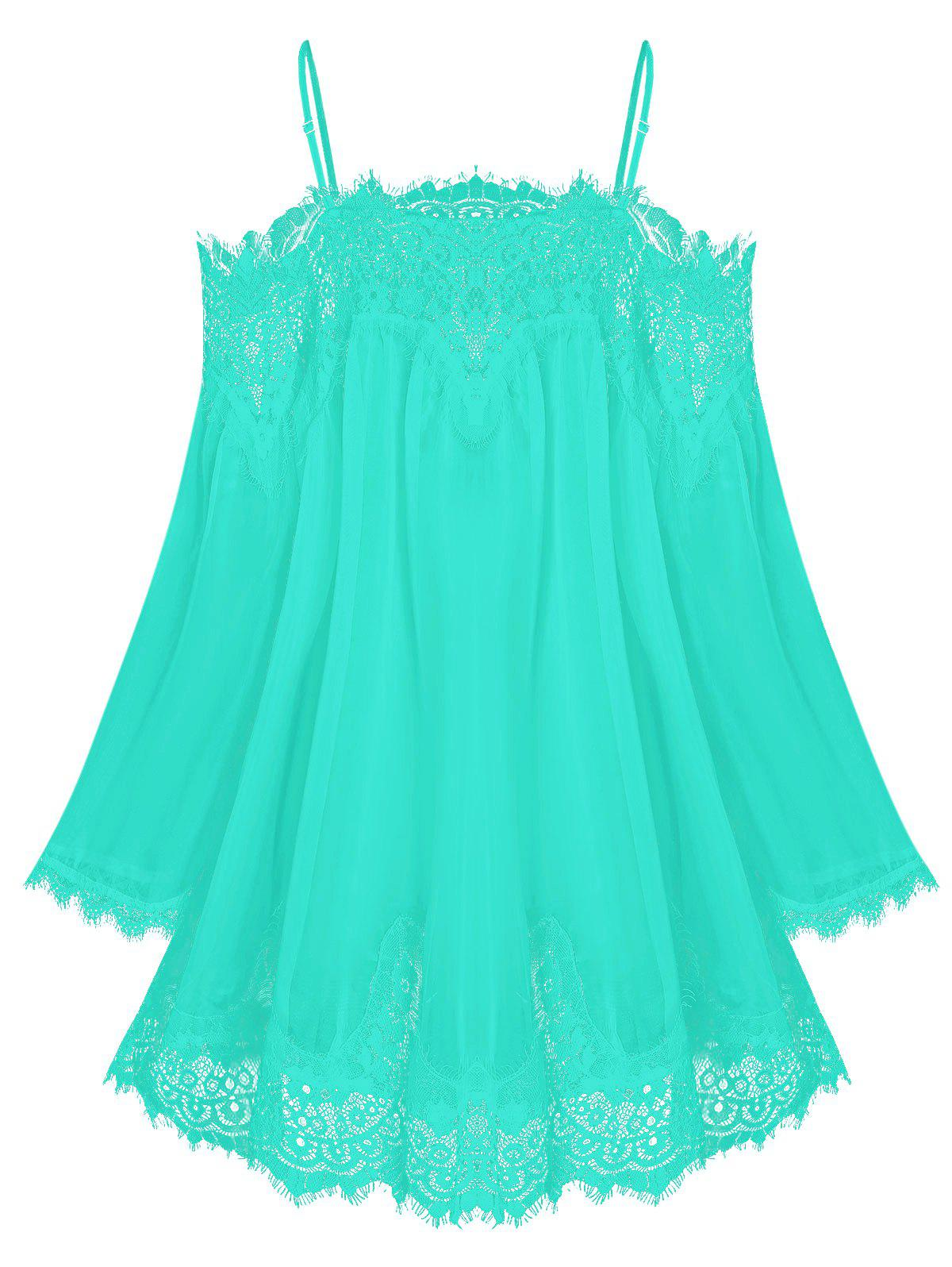 Sale Lace Insert Open Shoulder See Through Chiffon Cover Up